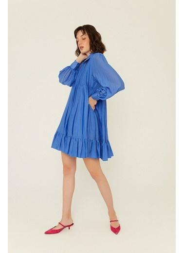 Rue Volanlı Mini Gömlek Elbise Mavi